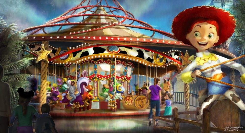 """JESSIE'S CRITTER CAROUSEL AT PIXAR PIER — Jessie's Critter Carousel, a future attraction coming to Pixar Pier, is inspired by Jessie's wilderness friends featured in Woody's Roundup television show from """"Toy Story 2"""". Jessie's Critter Carousel is a classic boardwalk carousel play set with a whimsical spin from those colorful Pixar characters. As seen in this artist concept, Jessie the Yodeling Cowgirl invites guests to saddle up on one of her adorable critters for a rootin' tootin' spin. Jessie's Critter Carousel will be located in the neighborhood inspired by Disney•Pixar's """"Toy Story.""""  (Disney•Pixar)"""