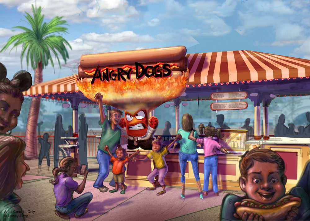 ANGRY DOGS AT PIXAR PIER (ANAHEIM, Calif.) –  Pixar Pier, a newly reimagined land opening at Disney California Adventure park on June 23, 2018, introduces four new neighborhoods representing beloved Pixar stories. This artist concept illustrates Angry Dogs at Pixar Pier. (Disney•Pixar)