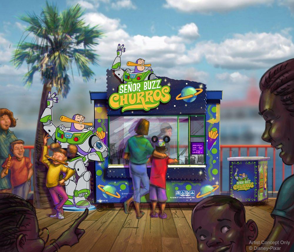 SEÑOR BUZZ CHURROS AT PIXAR PIER (ANAHEIM, Calif.) –  Pixar Pier, a newly reimagined land opening at Disney California Adventure park on June 23, 2018, introduces four new neighborhoods representing beloved Pixar stories. This artist concept illustrates Señor Buzz Churros at Pixar Pier. (Disney•Pixar)