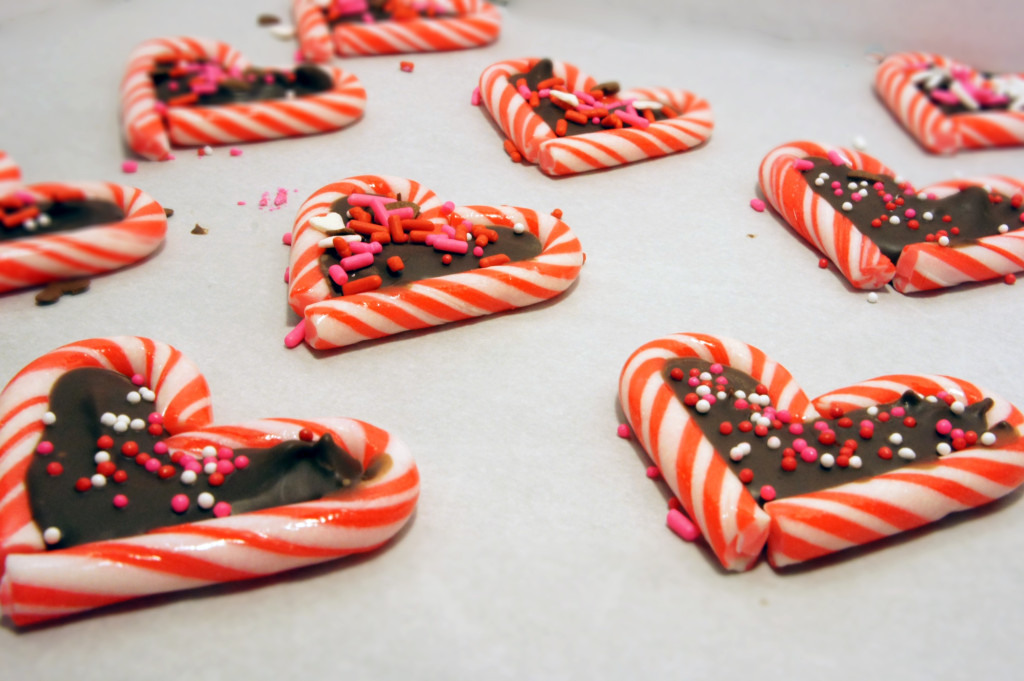 Left over Candy canes turned into Valentines Hearts