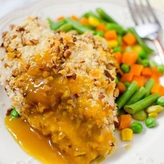 Pecan Crusted Chicken with Peach Mustard Glaze Recipe