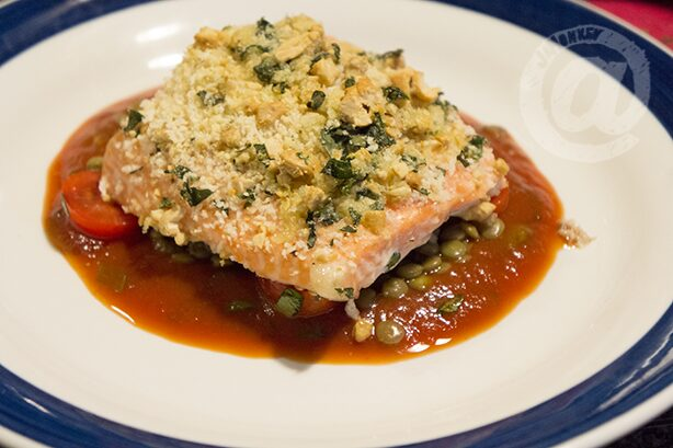 Cashew Crusted Salmon with Lentils