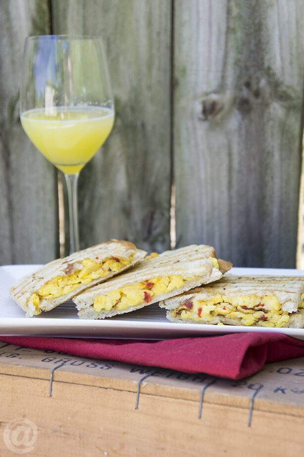 Roasted Red Pepper Breakfast Panini Recipe
