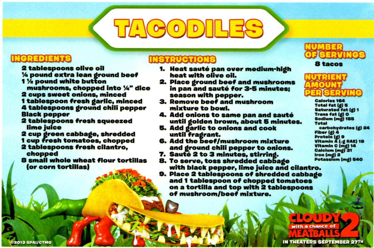 Foodimal Recipes From Cloudy With A Chance Of Meatballs 2 Cloudy2