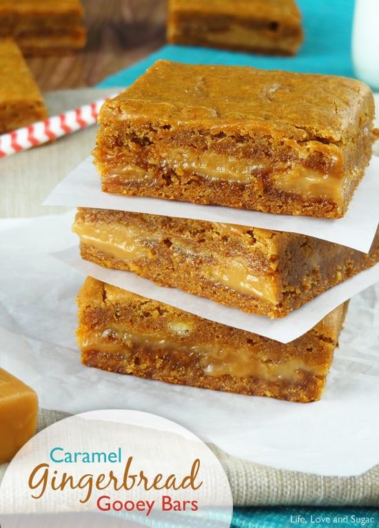 Caramel Gingerbread Gooey Bars