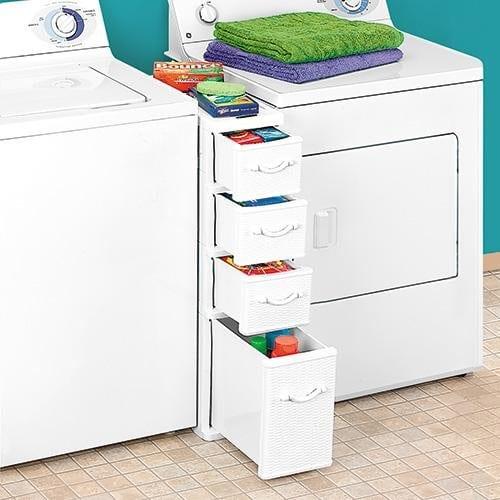 Between the washer dryer storage
