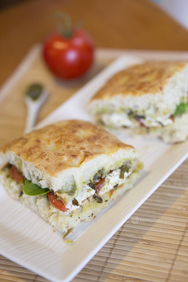 keep some fococcia bread, basil pesto, tomatoes, and fresh mozzarella ...