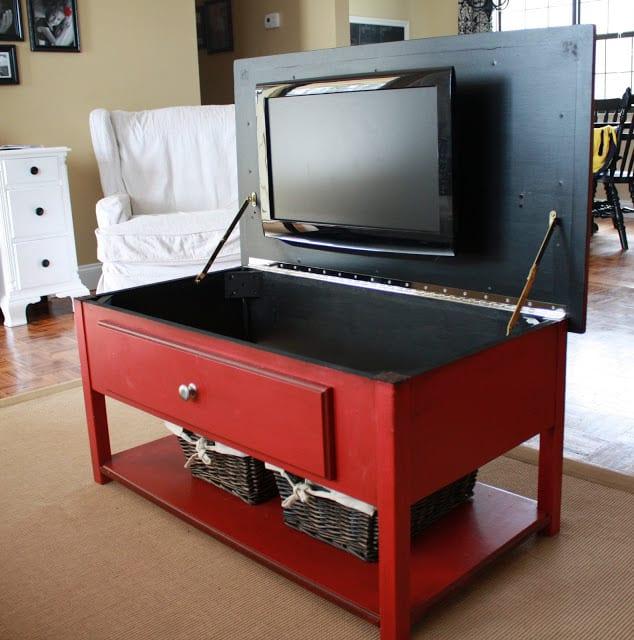Hide TV in Coffee Table!