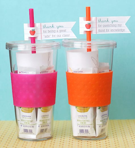 Tumblers with Drink Packets inside for teachers