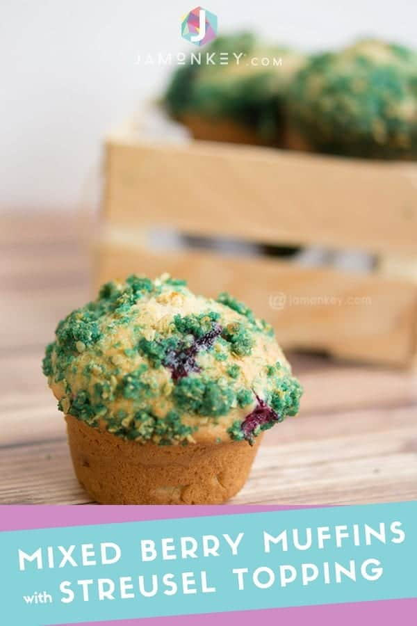 MIXED BERRY MUFFINS WITH BLUE PIXIE DUST STREUSEL TOPPING