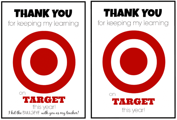 Target Gift Card Teacher Appreciation Printable