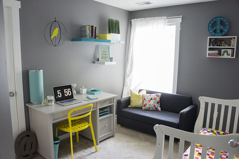Modern Office Makeover - Grey, Turquiose and Yellow Accents | JaMonkey