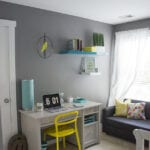 Modern Office Makeover – Grey, Turquiose and Yellow Accents
