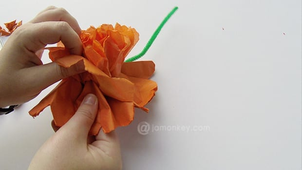 Spread out tissue paper