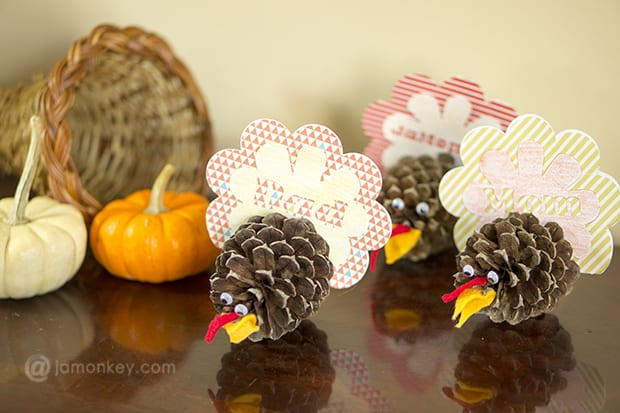 Pine Cone Turkey Thanksgiving Place Cards