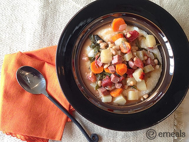 Ham, Kale and Navy Bean Stew - Slow Cooker meals