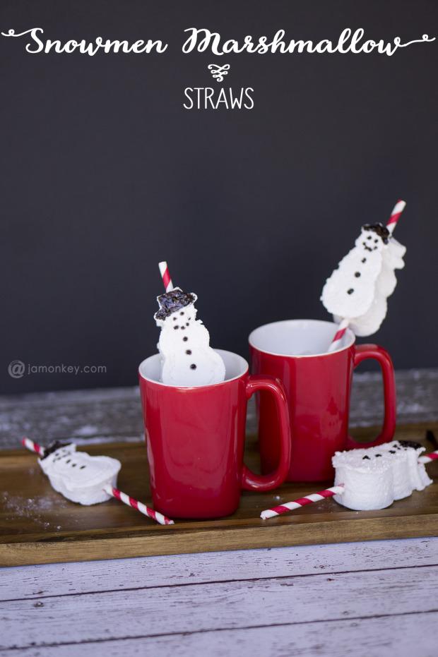 Snowman Marshmallow Straws