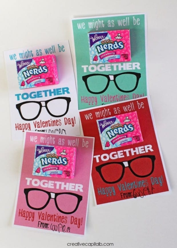 We Might As Well Be Nerds Together Valentine Printable in four colors