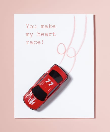 You make my heart race Car Valentine