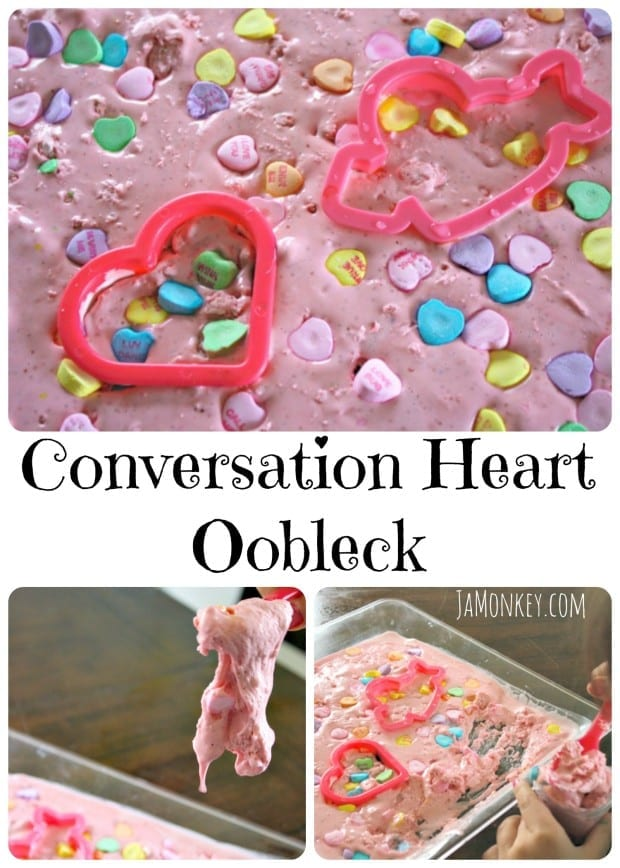 Conversation Heart Oobleck - Science Experiment @jamonkey