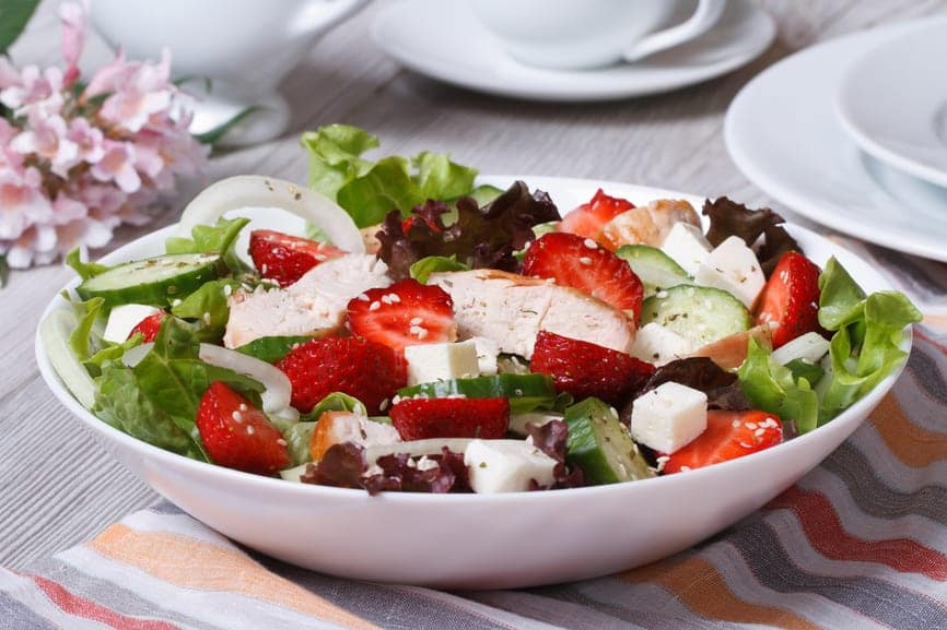 Chicken Strawberry and Feta Salad