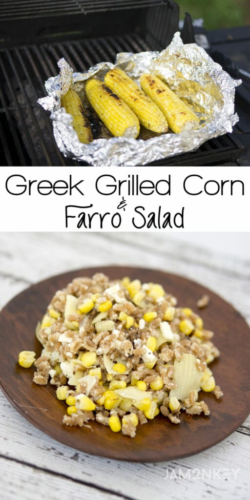 Greek Grilled Corn Farro Salad