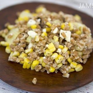 Greek Grilled Corn and Farro Salad