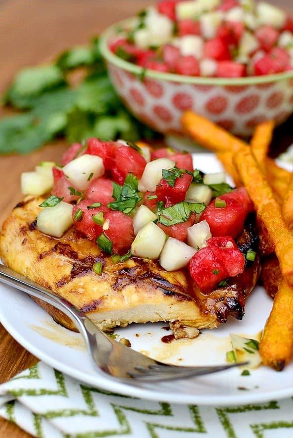 Grilled Chicken with Watermelon Salsa