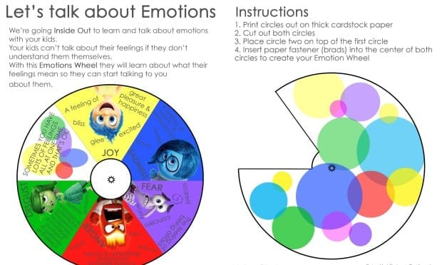 Inside Out Emotions Wheel Printable