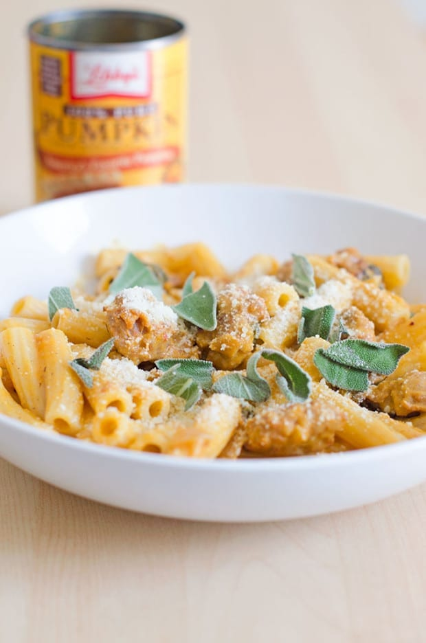 Rigatoni with Spicy Pumpkin and Sausage