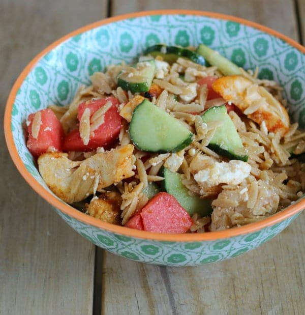 watermelon chicken orzo salad