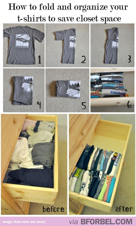 Fold your clothes smaller to fit into a drawer so that you can see them.