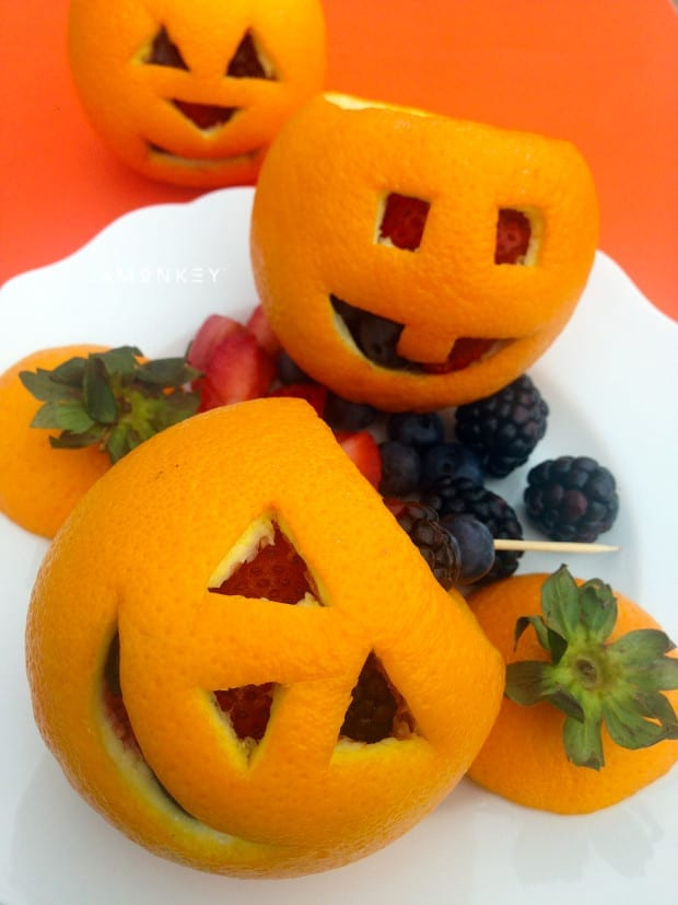 Orange Jack-O-Lantern with Fruit