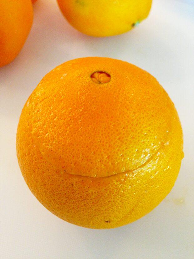 Orange Jack-O-Lantern with Fruit In-Process #3