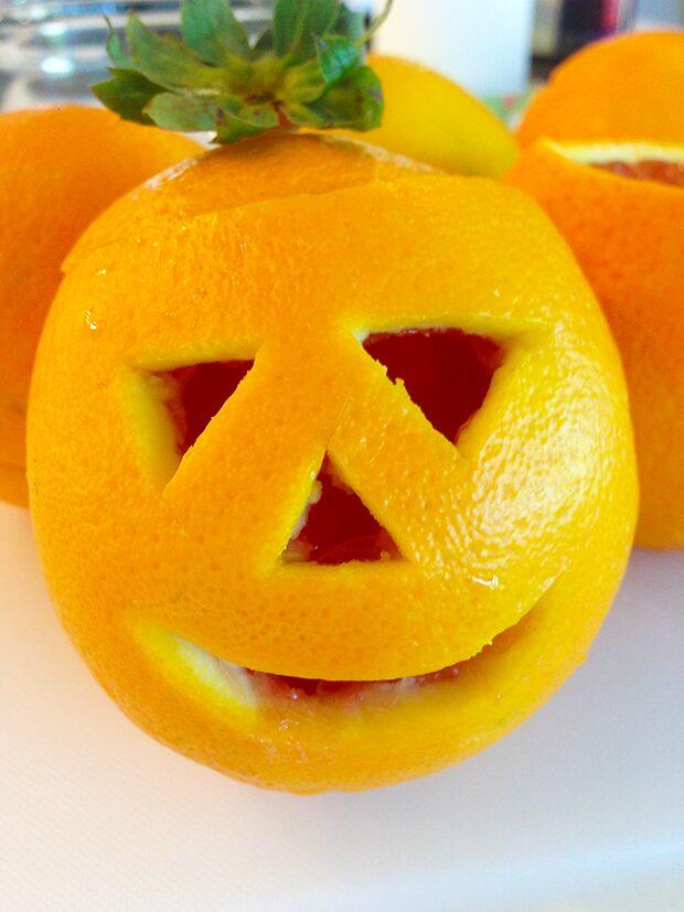 Orange Jack-O-Lantern with Fruit In-Process #7