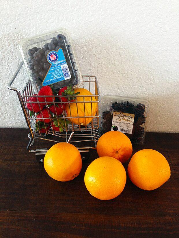 Orange Jack-O-Lantern with Fruit Ingredients
