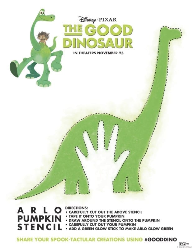 The Good Dinosaur Pumpkin Stencil