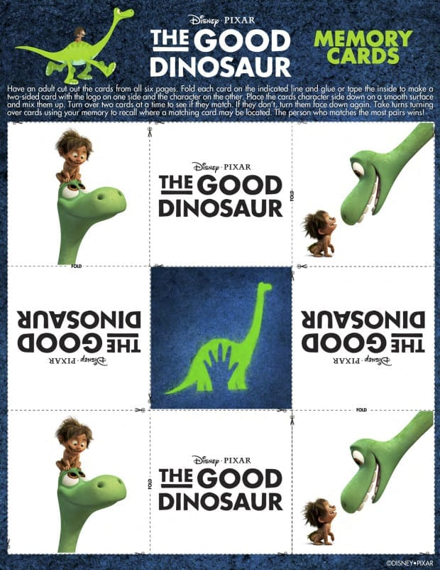 The Good Dinosaur Activity Sheets - Memory Card Game Printable