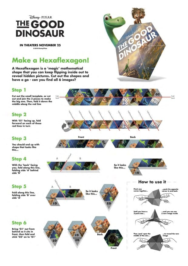 The Good Dinosaur Activity Sheets - Hexaflexagon Printable