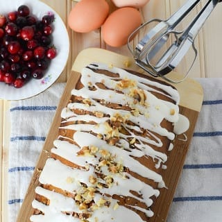 Cranberry Loaf with Eggnog Icing