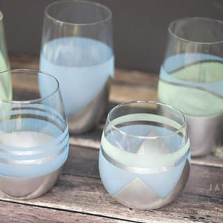 DIY Metallic and Sea Glass Drinking Glasses