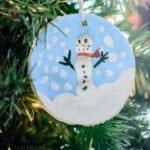 Cute Kids Craft Salted Dough Fingerprint Snowman Ornament