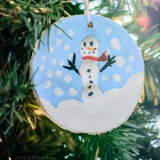 Cute Kids Craft Salted Dough Fingerprint Snowman Ornament