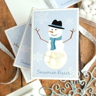 Snowman Kisses Printable DIY Tic Tac Stocking Stuffer