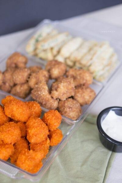 Buffalo and BBQ Cauliflower Bites with Zucchini Fries