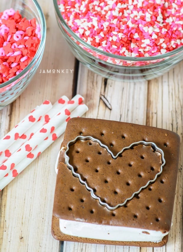 Easy Heart Shaped Ice Cream Sandwiches