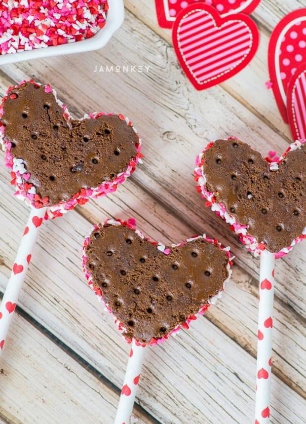 Easy Heart Shaped Ice Cream Sandwiches