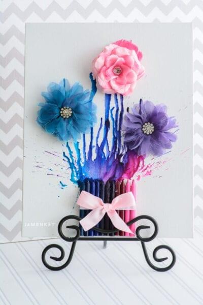 DIY Crayon Flower Picture