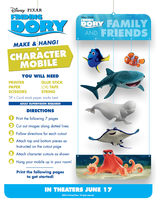 Finding Dory Activity and Coloring Sheets