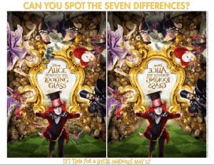 Alice's Through the Looking Glass Spot the Difference